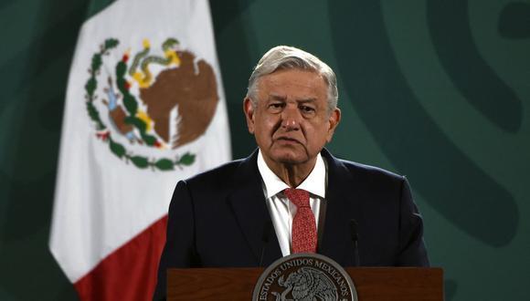 El presidente de México, Andrés Manuel López Obrador (AMLO), ofrece una conferencia de prensa en el Palacio Nacional en la Ciudad de México, el 7 de junio de 2021. (ALFREDO ESTRELLA / AE / AFP).