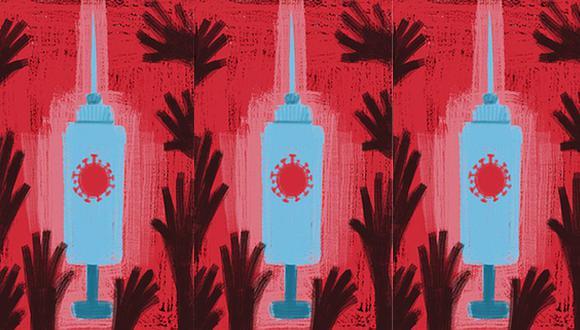 """""""Para una persona no vacunada, pasar tiempo con una persona vacunada sin máscara y en interiores es mucho más seguro que el mismo contacto con otra persona no vacunada"""". (Ilustración: Giovanni Tazza)"""