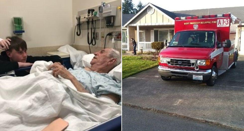 Anciano se rompió la cadera cortando el césped y los paramédicos que lo ayudaron acabaron haciendo su trabajo. (Facebook | Aiden Martin)