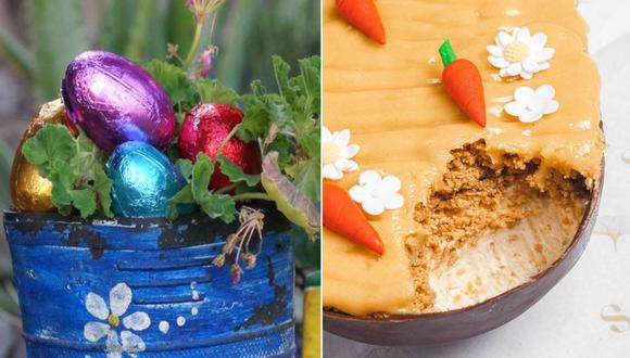 Izquierda: los huevos rellenos de Astrid Gutsche, elaborados con cacao amazónico. Derecha: el huevo de pascua hecho postre, propuesta de Sienna Bakery.