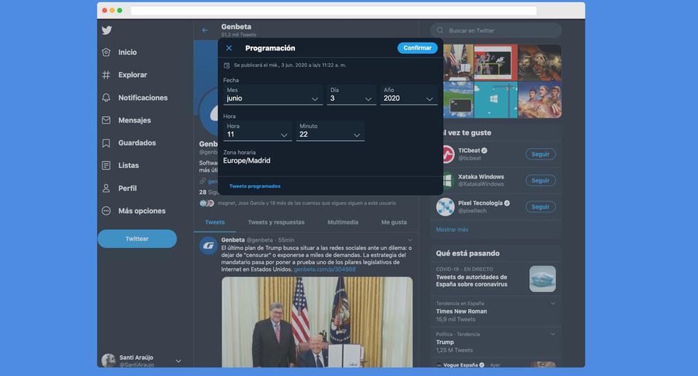 ¿Deseas programar un tweet? Conoce cómo lo puedes realizar usando este detalle. (Foto: Twitter)