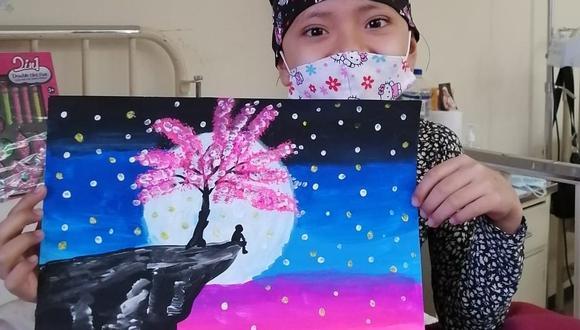 Maydelin Jimenez, quien padece de cáncer, muestra un dibujo que hizo para el presidente Vizcarra en nombre de los niños y niñas del INEN. (Foto: Jefe de la Unidad de Oncología Pediátrica del Hospital Rebagliati, Iván Maza)