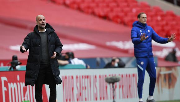 Guardiola y Tuchel se medirán hoy por la Premier y el 29 por la final de la Champions. (Foto: EFE)