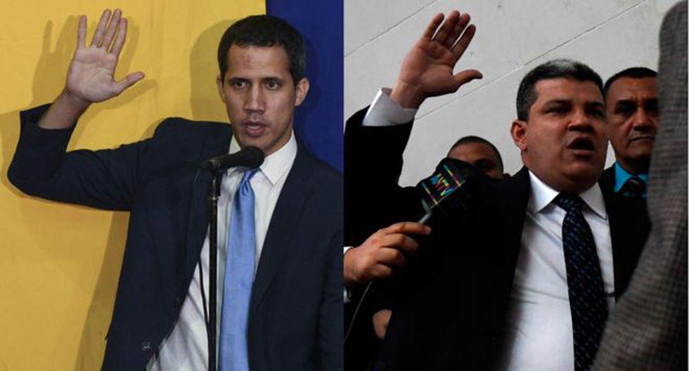 Juan Guaidó y Luis Parra juramentando como presidentes de la Asamblea Nacional de Venezuela en dos sesiones diferentes. (Getty Images).
