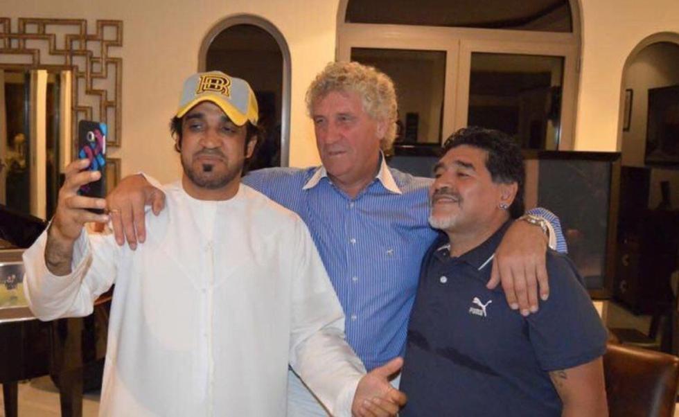 Maradona se reunió en Dubai con Jean Marie Pfaff, el arquero de Bélgica en México 86: el Diez le hizo doblete por las semifinales. Foto: Olé