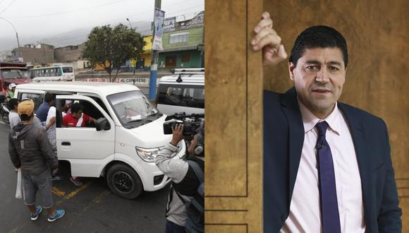 """Sergio """"Checho"""" Ibarra se encontró con manifestantes de la huelga de taxis colectivos en Lurín. Fotos: El Comercio."""