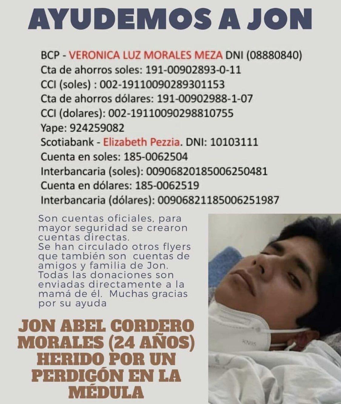 Jon Abel Cordero Morales resultó herido por el impacto de un perdigón en la médula espinal.