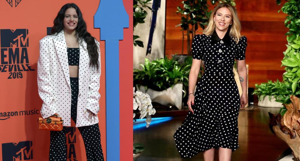 Estrellas como Rosalía y Scarlett Johansson han apostado por el estampado polka dots para configurar sus tenidas, cada una con diferentes estilismos. (Fotos: AFP/ Instagram)