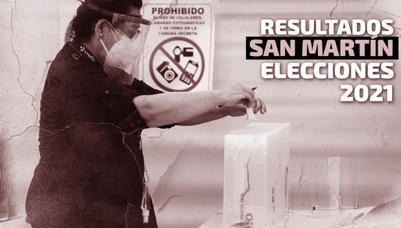 Resultados de las Elecciones 2021 en la región San Martín, según conteo de la ONPE | Diseño El Comercio