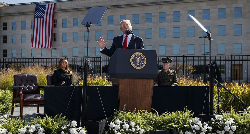 President Donald Trump speaks during a ceremony to mark the anniversary of the Sept. 11 terrorist attacks, Monday, Sept. 11, 2017, at the Pentagon. (AP Photo/Evan Vucci)
