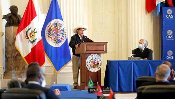Presidente Castillo participó en sesión permanente de la OEA. Previamente, se reunió con secretario general de dicho bloque de integración, Luis Almagro (Foto: Presidencia)