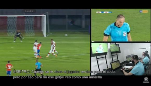 Carlos Zambrano fue amonestado tras la dura falta contra Miguel Almirón. (Captura: Conmebol)