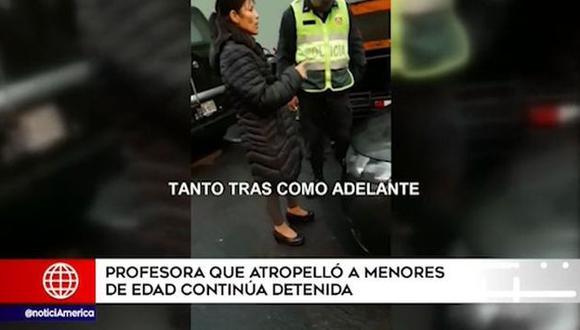 Profesora Leonor Velásquez Gonzales brindó declaraciones a la Policía Nacional. (Captura: América Noticias)