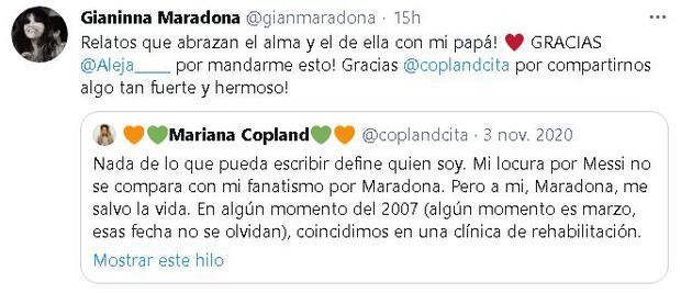 Giannina Maradona responda a Mariana Copland tras su narración sobre Maradona. (Captura: Twitter)