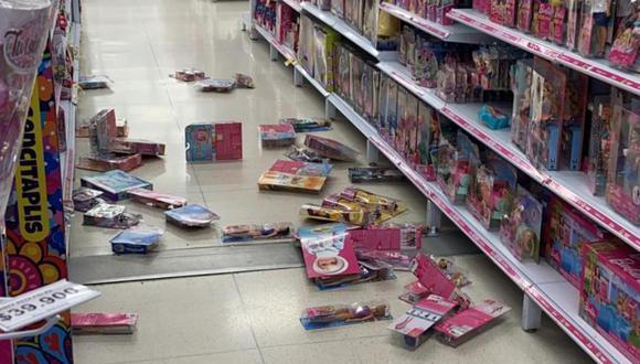 Así quedó una tienda tras el temblor de magnitud 6.2 se registró en el centro de Colombia.