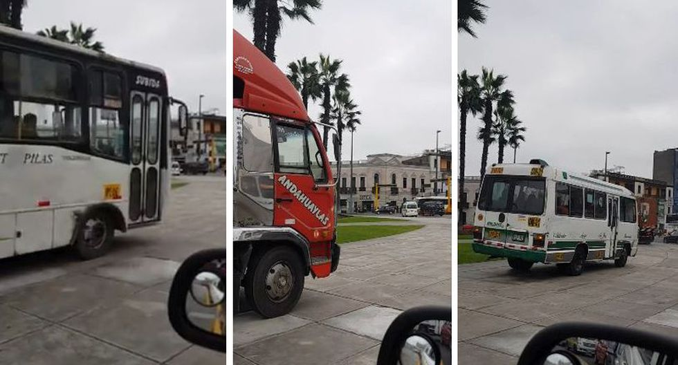 No es la primera vez que se reporta este tipo de imprudencias de conductores en la Plaza Bolognesi. (Facebook: Charles Ferdinand)