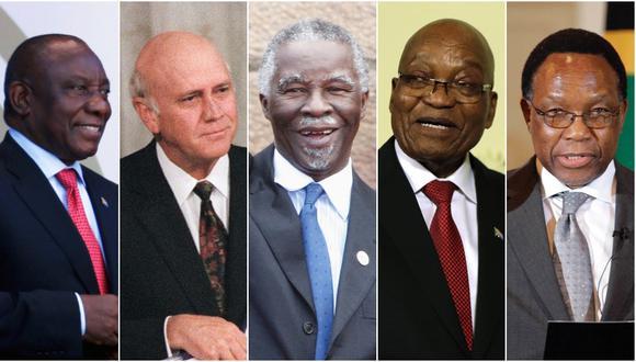 El presidente Cyril Ramaphosa destacó que la de Mandela es una de las vidas más extraordinarias de los tiempos modernos. En imagen (De izq. a der.) Ramaphosa, Frederik de Klerk, Thabo Mbeki, Jacob Zuma, y Kgalema Motlanthe. (Foto: Agencias)