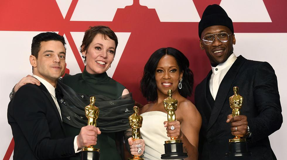 Rami Malek, Olivia Colman, Regina King y Mahershala Ali, los actores ganadores en el Oscar 2019. (Foto: AFP)