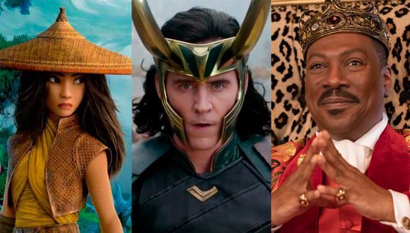 """Algunos de los posibles trailers que se podrán ver en el medio tiempo del Super Bowl LV serán """"Raya y el último dragón"""", """"Loki"""" y """"Un príncipe en Nueva York 2"""". (Foto: Disney, Marvel y  Amazon Prime)"""
