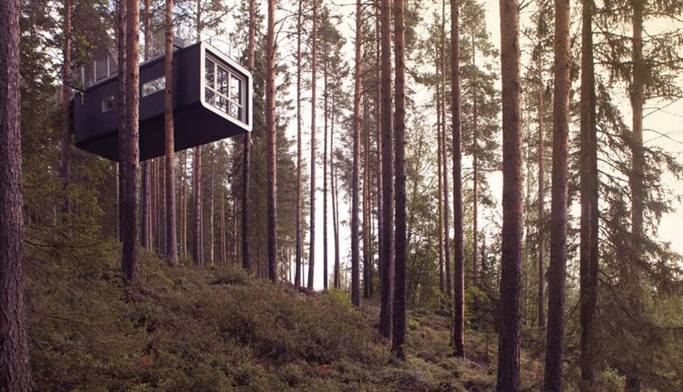 1. Treehotel. Ubicado a 64 kilómetros al sur del círculo polar ártico, en Harads, Suecia, este hospedaje propone una estadía ecológica en casas construidas en árboles en medio de la naturaleza virgen. Los precios varían de acuerdo al cuarto elegido, desde 4.700 a 7.500 coronas suecas (alrededor de 498 y 795 euros respectivamente). Permanece abierto todo el año, ofreciendo actividades para cada temporada como las caminatas guiadas en la reserva Natural de Korgen por 1.990 coronas suecas, es decir, unos 210 euros (Foto: TreeHotel).