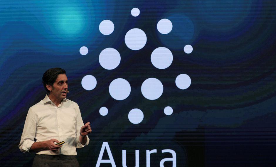 José María Álvarez Pallete presidente de telefónica brinda detalles del funcionamiento de Aura en el Mobile World Congress que se viene desarrollando en Barcelona. (Foto: Reuters)