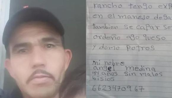 En esta imagen se aprecia a Medina y el CV a mano que preparó para buscar trabajo.  (Foto: Captura/Televisa)