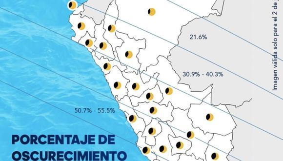 Eclipse solar. Así se verá desde las ciudades del Perú. (@igp_peru en Twitter)