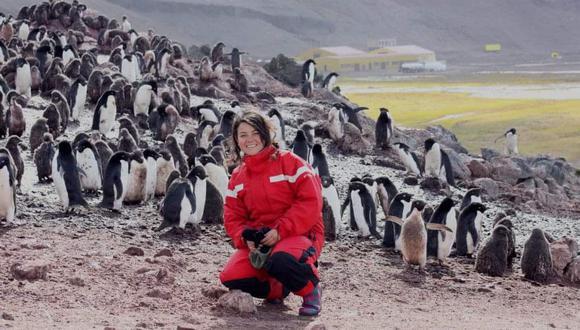 """Denisse Sotomayor posa con una colonia de pingüinos Adelia en la estación científica polaca Artowski, en la Isla del Rey Jorge, en la Antártida (2012). Aquella estación era """"vecina"""" del Perú en la isla. """"Este fue el viaje que cambió mi vida y mi forma de hacer periodismo"""", sostiene Sotomayor."""