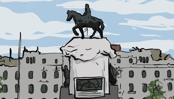"""""""Desde las dos de la tarde, se reunió una gran multitud de hombres, mujeres y niños en la Plaza San Martín"""". (Ilustración: Giovanni Tazza)"""