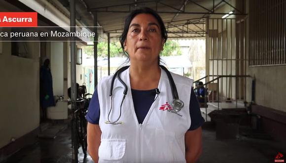 Olga Ascurra, una médica nefróloga peruana que reside desde hace 10 años en Londres y pertenece a esta organización de especialistas en salud desde 1994, se dedica a atender a pacientes con VIH/Sida tras el paso del ciclón Idai por Mozambique. (Captura de video)
