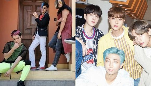"""Elenco de la serie """"De vuelta al barrio"""" formó agrupación K-pop, al estilo BTS. (Foto: @gabriel_rondon_oficial/@bts.bighitofficial)"""
