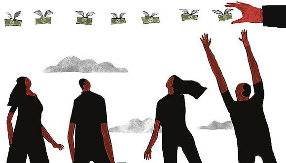 """""""La bonanza macroeconómica es muy importante, pero no lo es todo. La evidencia nos viene dando múltiples señales de que nos hace falta un poco más de solidaridad"""". (Ilustración: Víctor Aguilar Rúa)."""