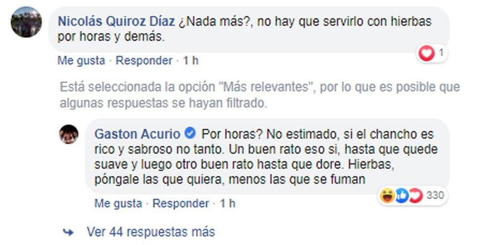 Así respondió Gastón Acurio a usuario de Facebook que tenía una duda gastronómica. (Foto: Facebook)
