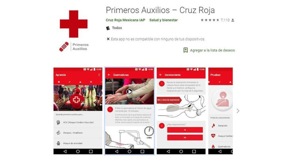 Primeros Auxilios – Cruz Roja. Ayuda a saber qué hacer en caso de accidente, enfermedad o fenómenos naturales. Incluye animaciones, videos, casos e información general de primeros auxilios. (Foto: Google Play)