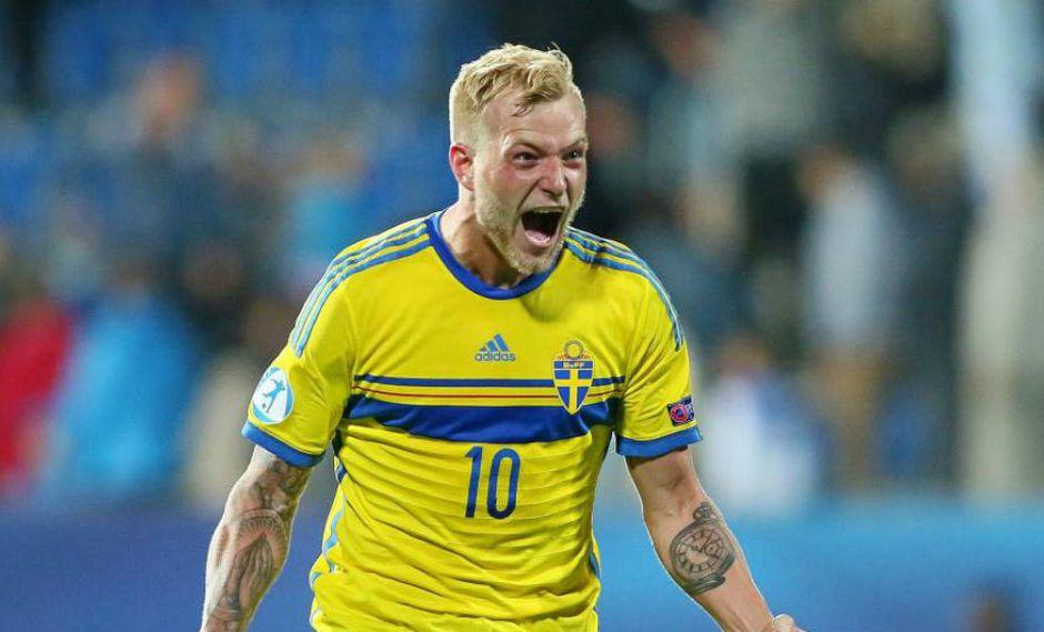 El atacante Guidetti con la selección sueca. (Foto: AFP)