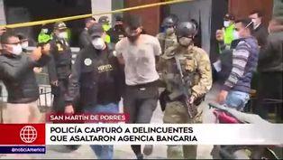 SMP: capturan a malhechores armados que asaltaron agencia bancaria