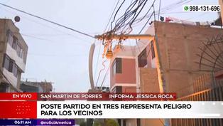 SMP: poste partido pone en peligro la vida de vecinos y transeúntes