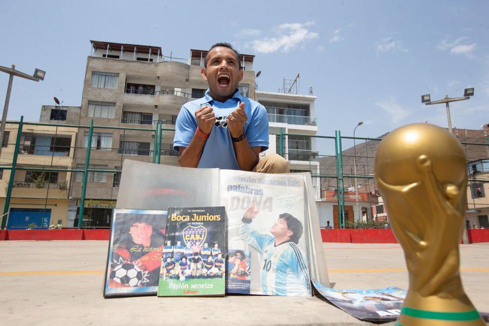 Jim Haley Del Águila, fanático del futbolista Diego Maradona, esta decidido a crear en el país una filial maradoniana. Foto: Violeta Ayasta / @photo.gec