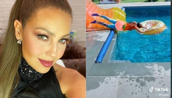 Thalía se llevó un gran susto tras sufrir caída al intentar grabar un Tik Tok (Foto: Instagram @thalia)