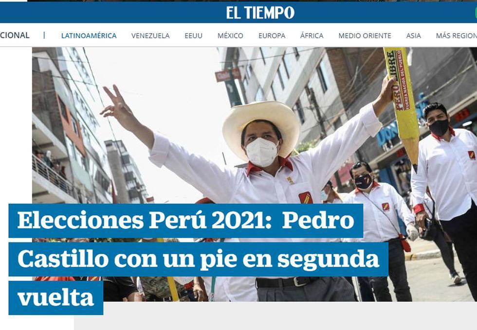 La encuesta a boca de urna de la firma Ipsos, divulgada apenas terminó la votación, dio el primer lugar al maestro y sindicalista Pedro Castillo, con 16,1%, lo que implica la necesidad de una segunda vuelta. (Texto: AFP /  Foto: captura El Tiempo)