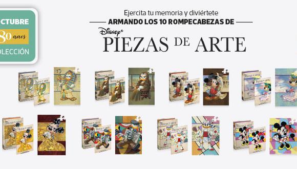 Una colección exclusiva de 10 rompecabezas disney con toda la historia del arte, cada entrega viene con caja coleccionadora, fascículo y un rompecabezas de 500 piezas.