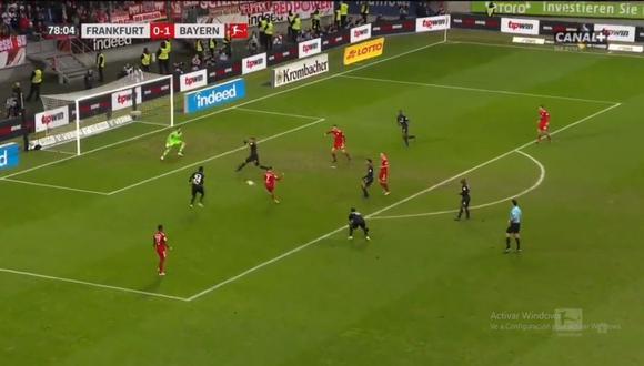 Franck Ribéry puso el 2-0 en el Bayern Múnich vs. Eintracht Frankfurt por la jornada 17 de la Bundesliga (Foto: captura de pantalla)