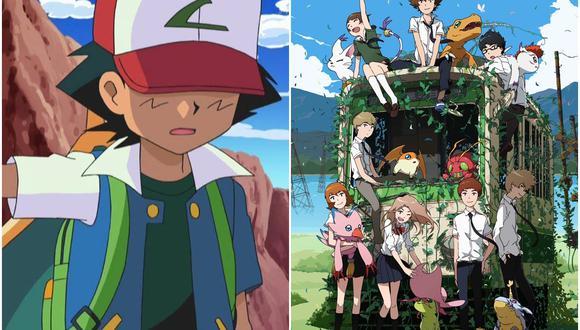 """Ash Ketchum, protagonista de la versión animada de """"Pokémon"""". Derecha. Los protagonistas de """"Digimon Adventure Tri"""", ambientada siete años después de la historia original. (The Pokémon Company International/Toei Animation)"""