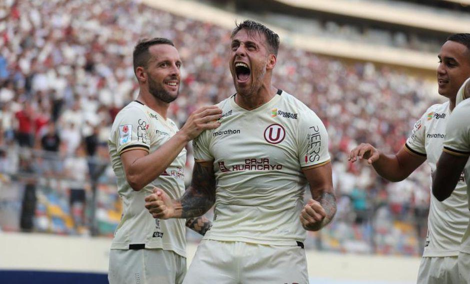 Germán Denis anotó el 1-0 para Universitario de Deportes sobre Mannucci por la fecha 4 de la Liga 1. (Foto: Universitario).
