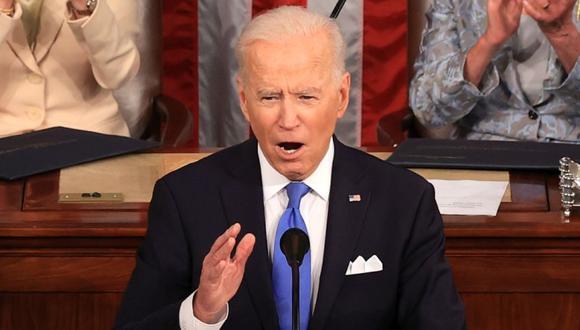 El presidente de Estados Unidos, Joe Biden, en el centro, habla durante una sesión conjunta del Congreso en el Capitolio. (Foto: Chip Somodevilla / Getty Images / Bloomberg).