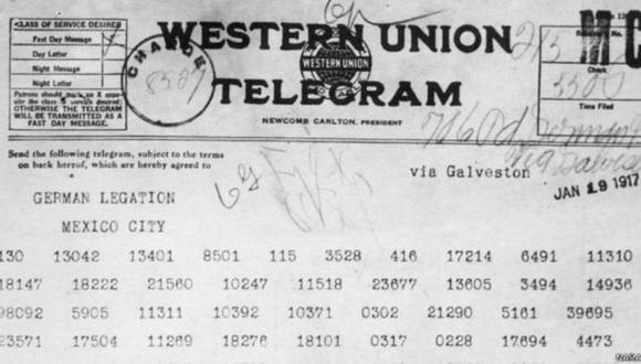 El telegrama a México que definió la suerte de la Primera Guerra Mundial. (BBC Mundo)