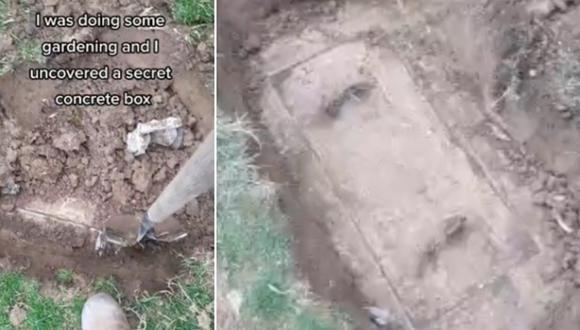 """La """"caja secreta de concreto"""" estaba enterrada en el jardín del patio trasero de su casa. (Foto: @tonyhuismanlp / TikTok)"""