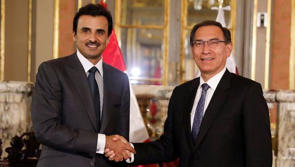El emir de Qatar Tamim Bin Hamad al Zani fue recibido el martes por el presidente del Perú Martín Vizcarra. (Reuters).