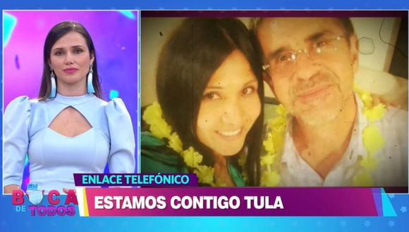 """Tula Rodríguez tuvo enlace telefónico con """"En boca de todos"""" tras la muerte de su esposo. (Foto: Captura América TV)"""