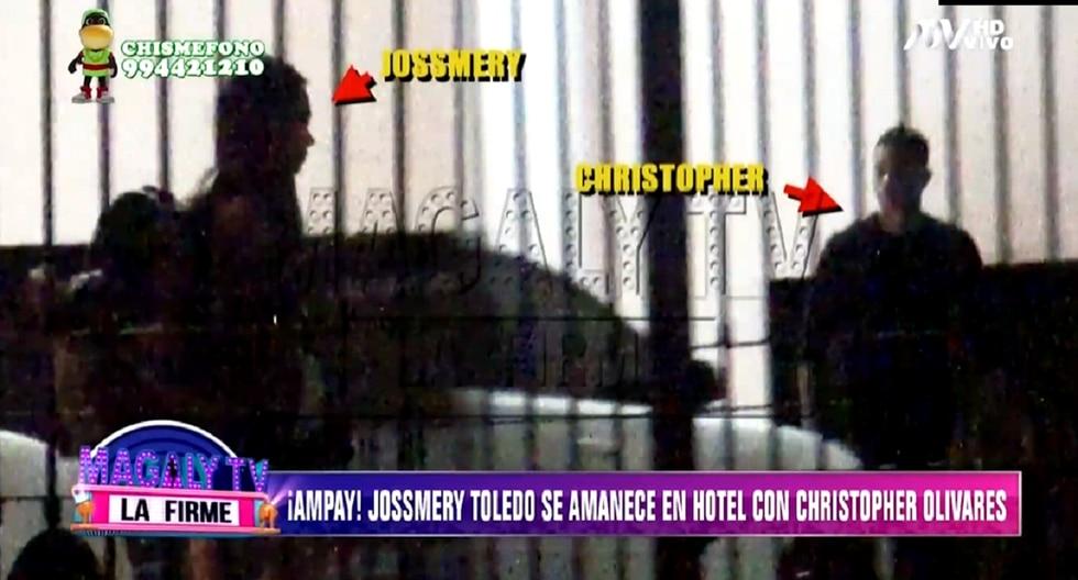 Jossmery Toledo y Christopher Olivares son captados en hotel. (Foto: Captura ATV)